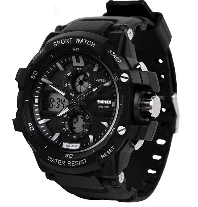 Мужские часы Skmei 1253 Black / Resist 0990