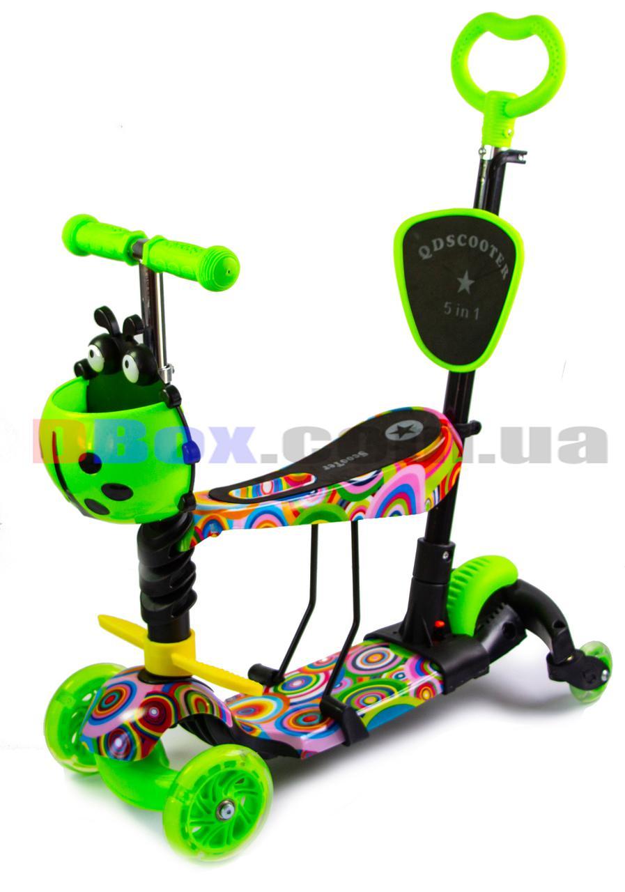 Самокат дитячий Flex Style 5 in 1 - світяться колеса, ручка для батьків, сідло, поворотні задні колеса Rainbow