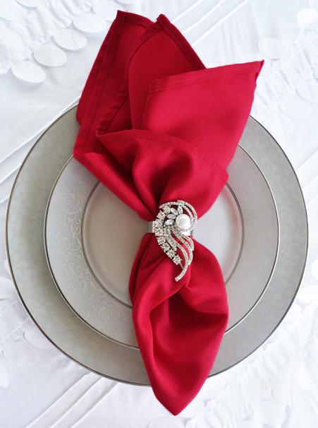 Салфетка тканевая сервировочная красная габардиновая Atteks - 1513