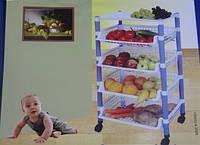 Пластиковая куходная полка для овощей на колёсах