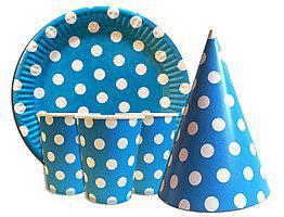 Набор одноразовой посуды Горох голубой 10 тарелок , 10 стаканчиков , 10 колпачков