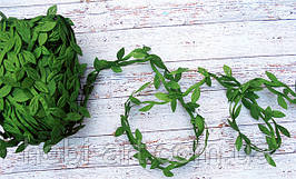 Тасьма декоративна з листочком,  20мм  № 03 зелена (LE-497)