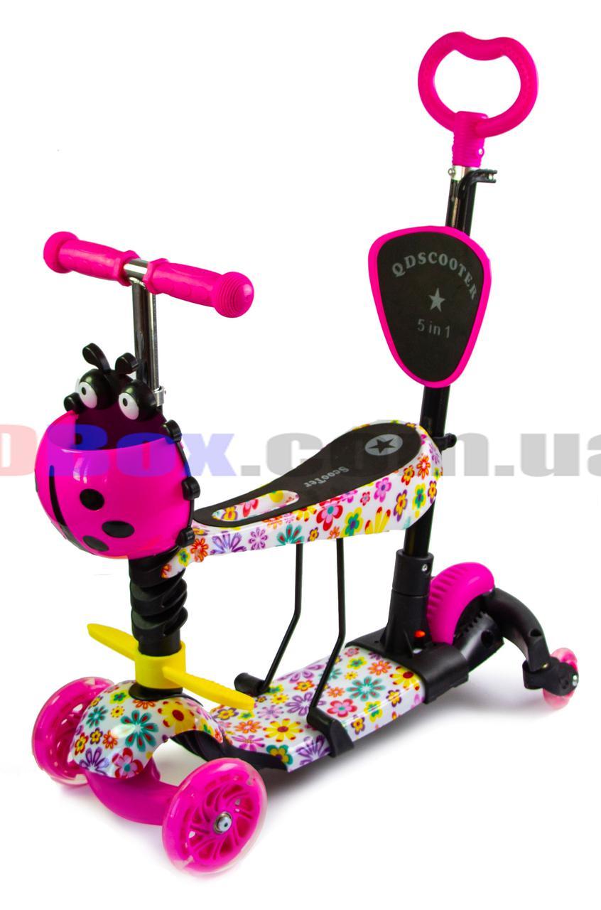 Самокат детский Flex Style 5 in 1 - светящиеся колеса, ручка для родителей, седло, поворотные задние колеса Flowers (2T1091/WLPK/FS)