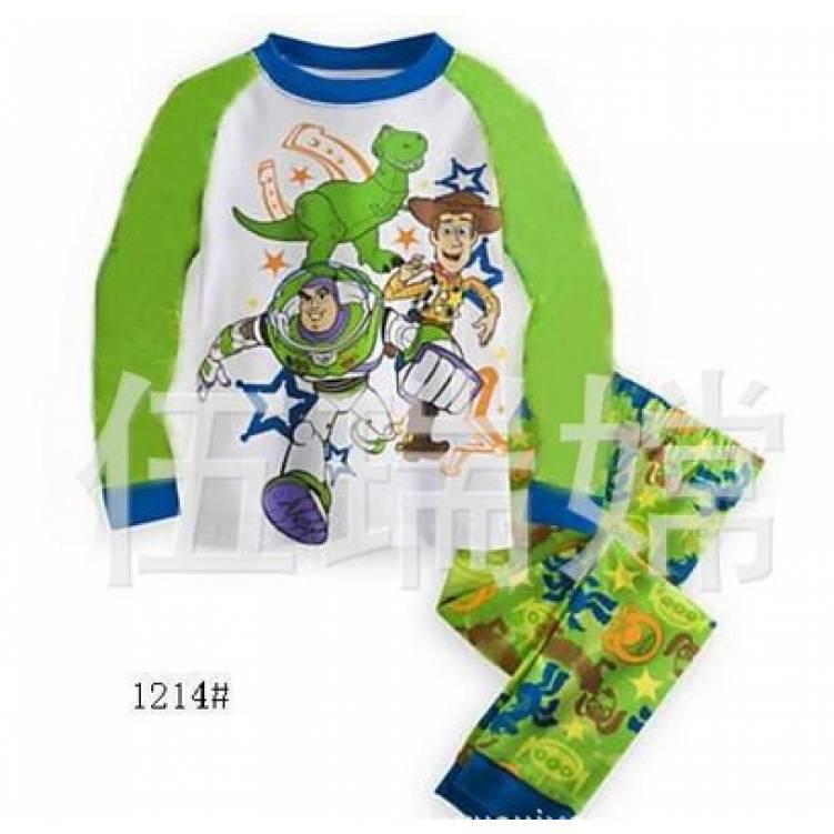 Пижама детская на  мальчика бело-зеленая весна-осень