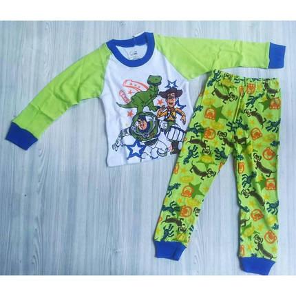Пижама детская на  мальчика бело-зеленая весна-осень, фото 2