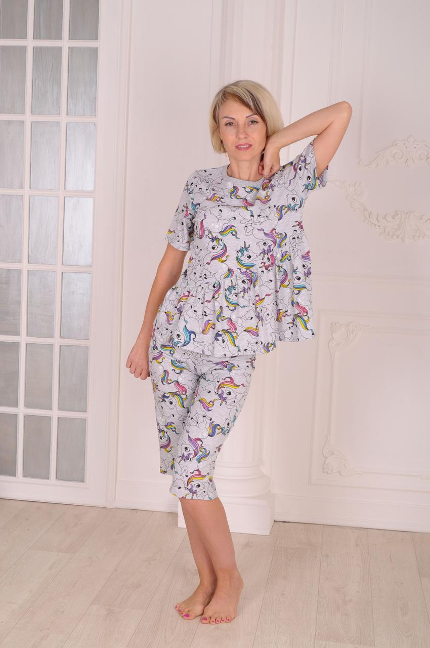 Пижама женская с шортами  Единороги размер 40-46