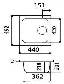 Мойка керамогранит GRAND прямоугольная 49/44/800 цвет САХАРА, фото 2