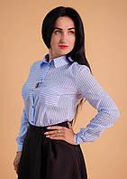 Стильная женская рубашка в голубую полоску