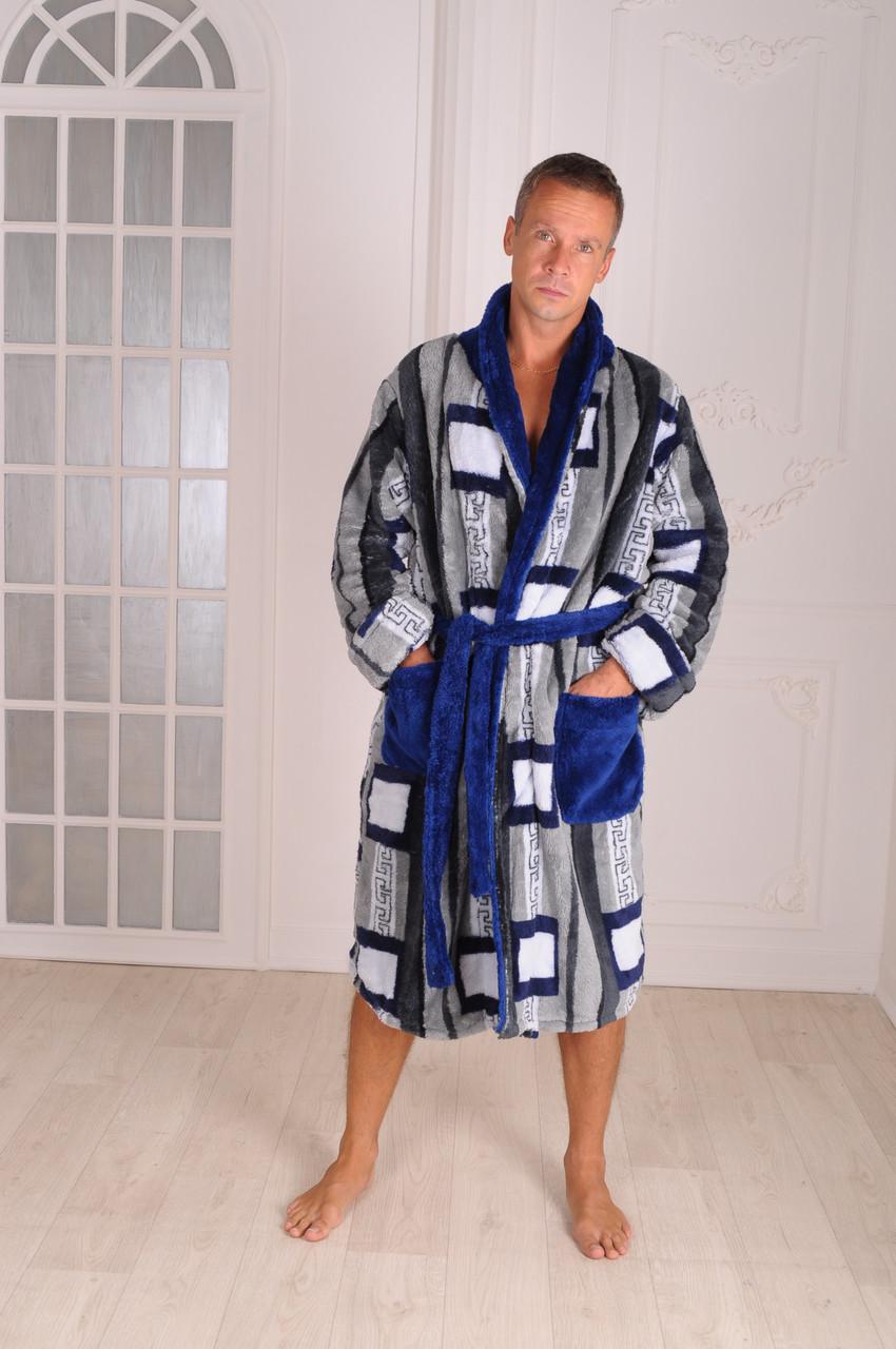 Халат мужской теплый Велсофт синий размеры 48-54