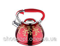 Чайник со свистком лакированный красный с узором 4,5л