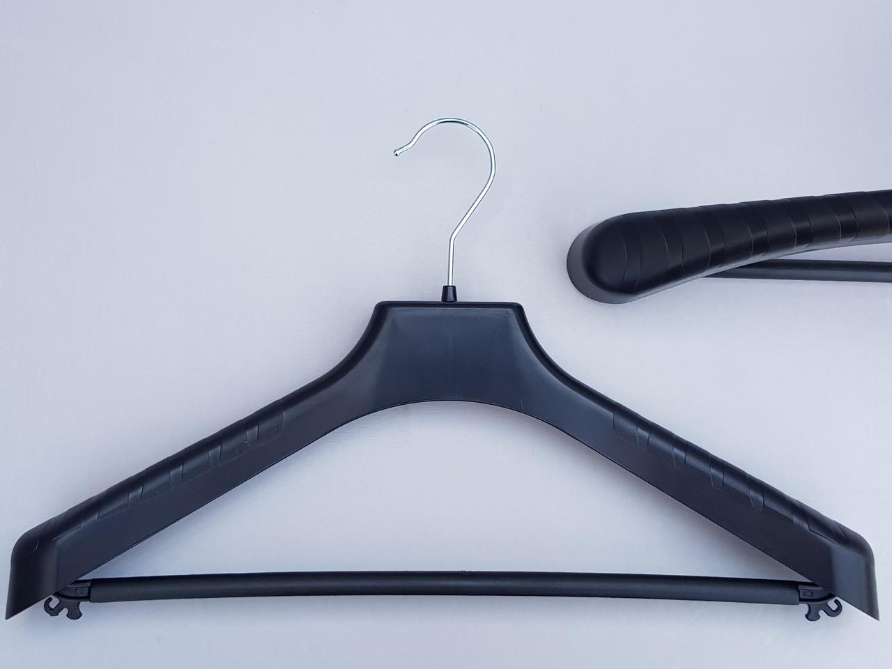 Плечики вешалки тремпеля V-PLp42 черного цвета, длина 42 см
