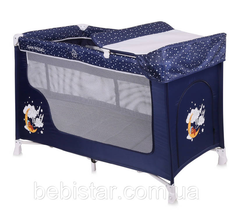 Кровать-манеж синий Lorelli SAN REMO 2 BLUE GOOD NIGHT BEAR