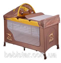 Кровать-манеж бежевый Lorelli SAN REMO 2 PLUS BEIGE&YELLOW HAPPY FAMILY