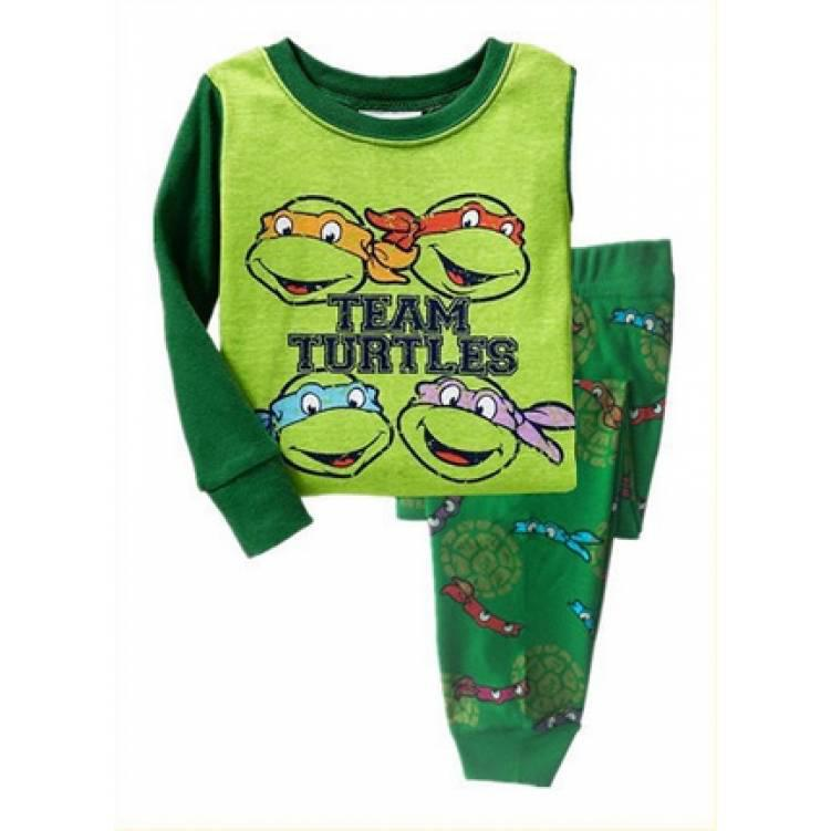 Пижама детская для мальчика зеленая Черепашки -ниндзя