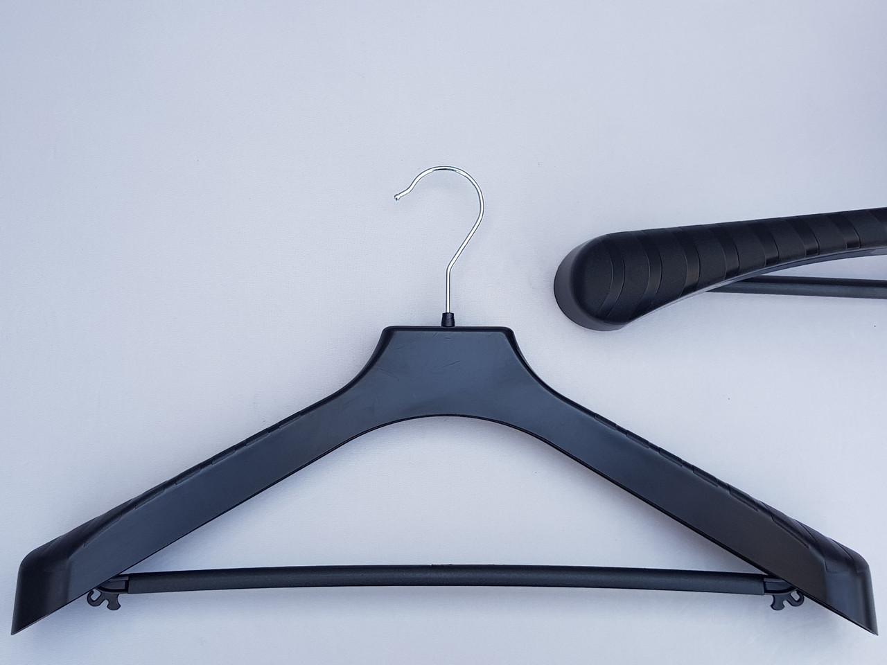 Плічка вішалки тремпеля V-PLp46 чорного кольору, довжина 46 см