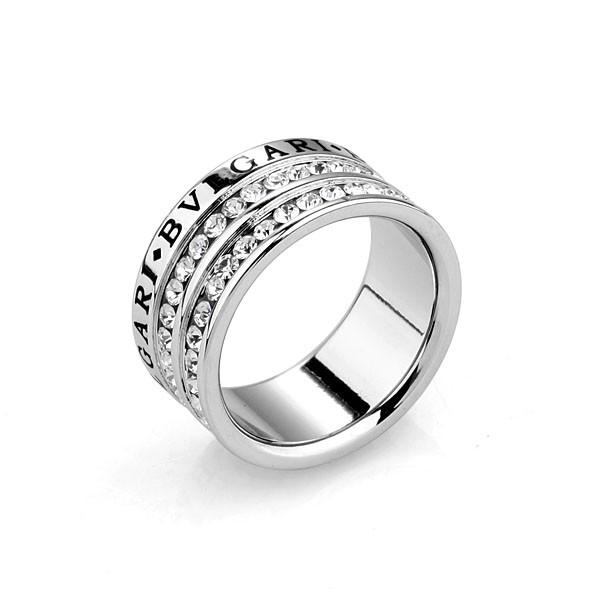 Кольцо BVLGARI ювелирная бижутерия покрытие родий декор цирконий
