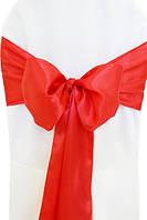 Чехол на стул с красным бантом Atteks габардиновый белый свадебный / банкетный - 1323