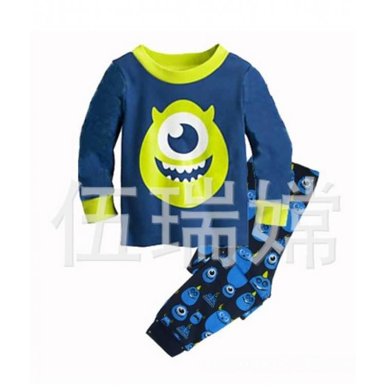 Пижама детская для мальчика синяя Монстры