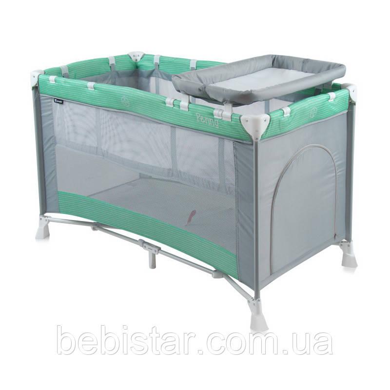 Кровать-манеж серо-зеленый Lorelli PENNY 2 GREEN&GREY
