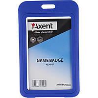 "Бейдж ""Axent"" вертикальный 50 х84 мм, РР, синий (5) №4530-07"