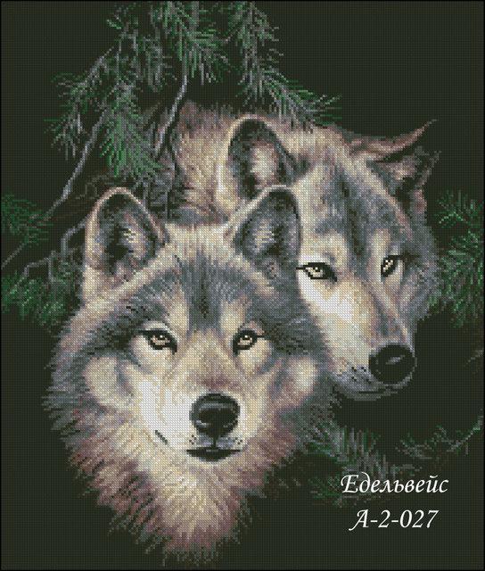Схема вышивки бисером на габардине Пара волков