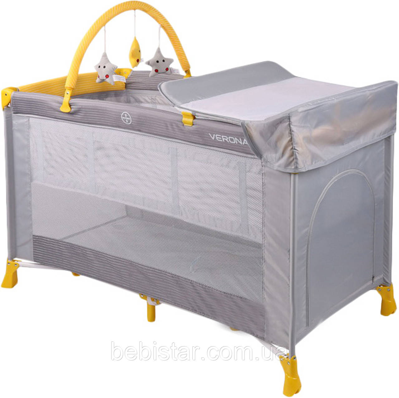 Кровать-манеж серо-желтый Lorelli VERONA 2 L GREY&YELLOW
