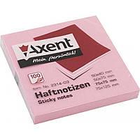 Блок для заметок с липким слоем 75х75мм Axent 100 листов розовый 2314-03