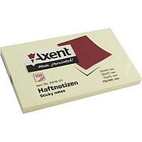 Блок для заметок с липким слоем 75х125мм Axent 100 листов желтый 2316-01