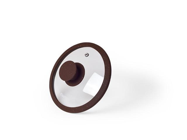 Крышка Fissman ARCADES 16 см (Жаропрочное стекло с мраморным силиконовым ободком)