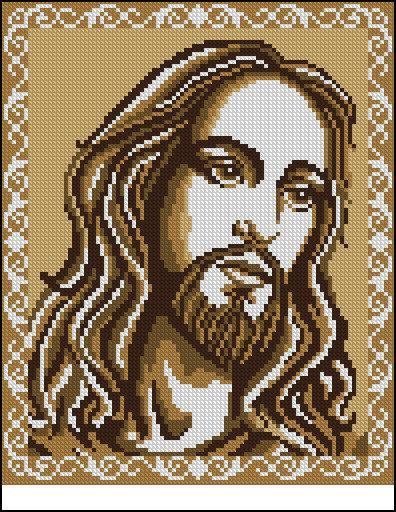Схема вышивки бисером на габардине Ісус