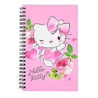 "Блокнот на двойной пружине А5 пластиковая обложка 80 листов ""Kite"" Hello Kitty  (25) (50) №HK17-225"