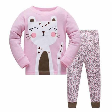 Пижама детская для девочки розовая Кошка, фото 2