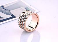 Кольцо BVLGARI ювелирная бижутерия покрытие золото 18к декор цирконий