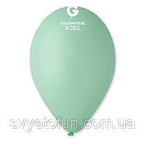 """Латексні повітряні кульки 12"""" пастель 50 аквамарин Gemar"""