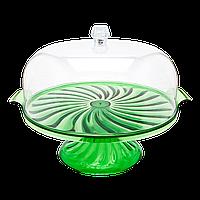 Тортовница Кристалл с подставкой зеленая