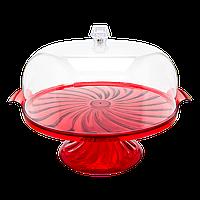 Тортовница Кристалл с подставкой красная
