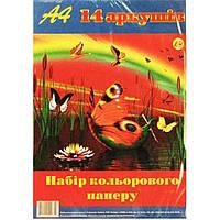 Бумага цветная А4 14 листов Тетрада