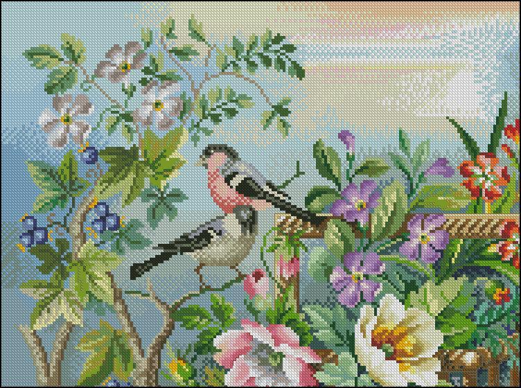 Схема вышивки бисером на габардине Птицы на ветке
