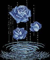Схема вышивки бисером на габардине Капли роз