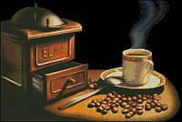 Схема вышивки бисером на габардине Кофе