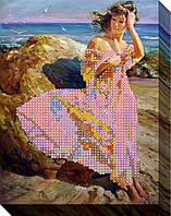 Схема для вышивки бисером  Девушка на пляже 2