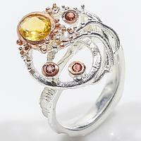 Кольцо цитрин гранат в серебре и позолоте. Кольцо с цитрином гранатом. Тайланд!, фото 1