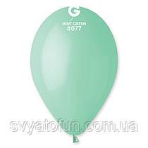 """Латексні повітряні кульки 12"""" пастель 77 м'ята, Gemar"""