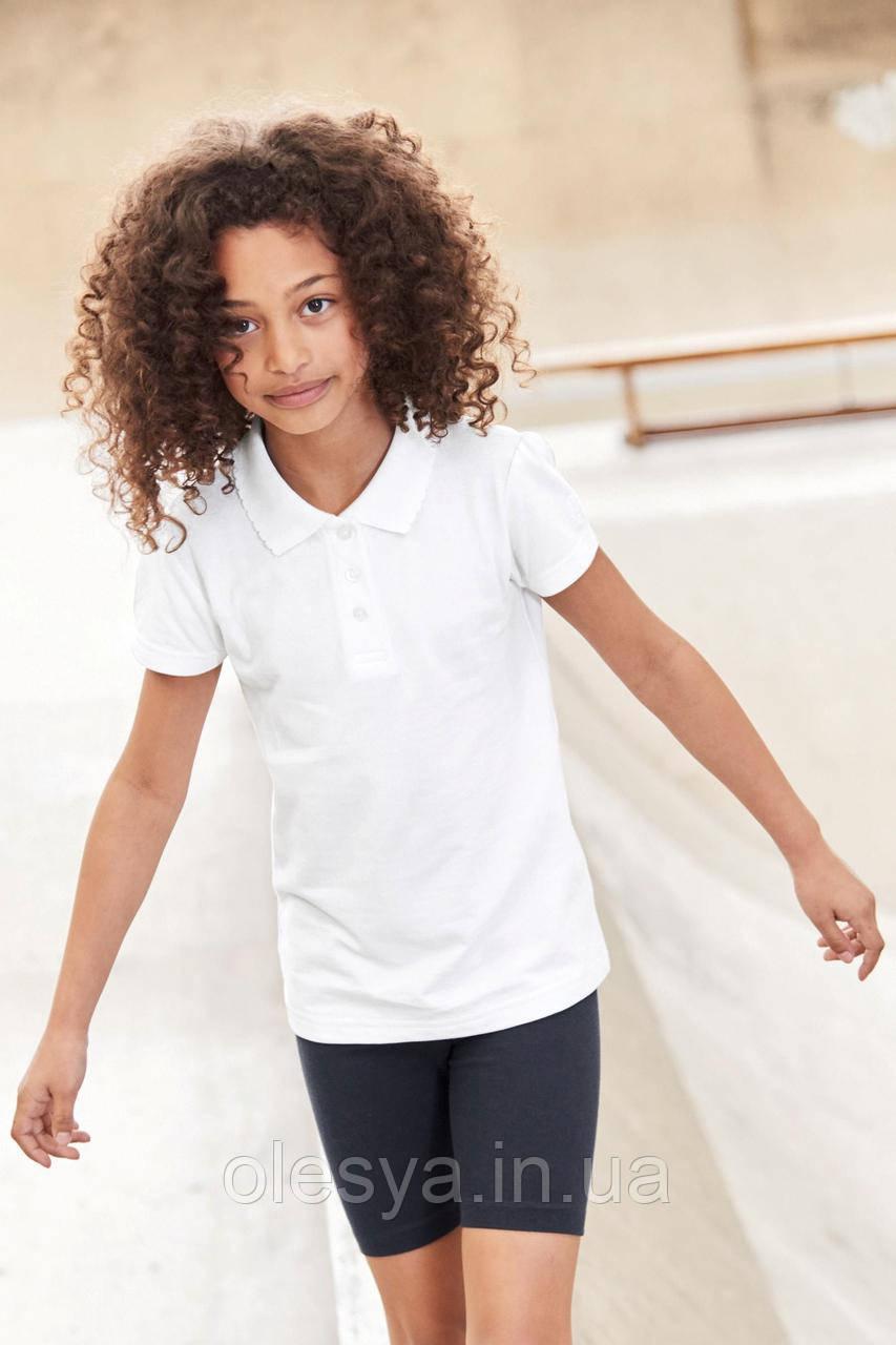 Школьная рубашка поло белого цвета Некст на девочку Хлопок Размер 128