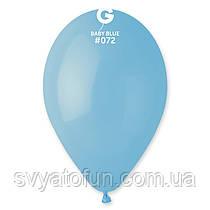 """Латексні повітряні кульки 12"""" пастель 72 світло-блакитний Gemar"""
