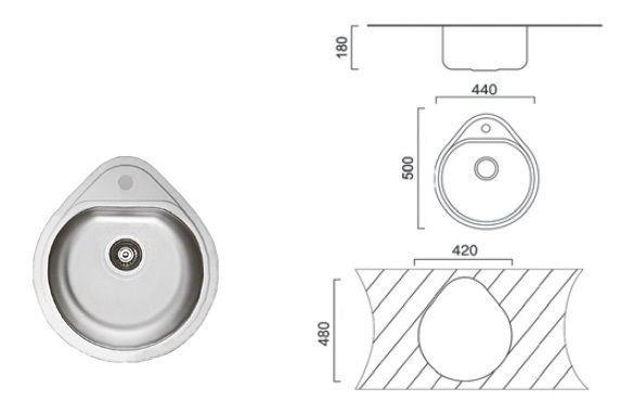 7115 Мойка CRISTAL круглая врезная Капля 500x440х180 Decor