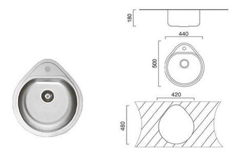 7115 Мойка CRISTAL круглая врезная Капля 500x440х180 Decor, фото 2