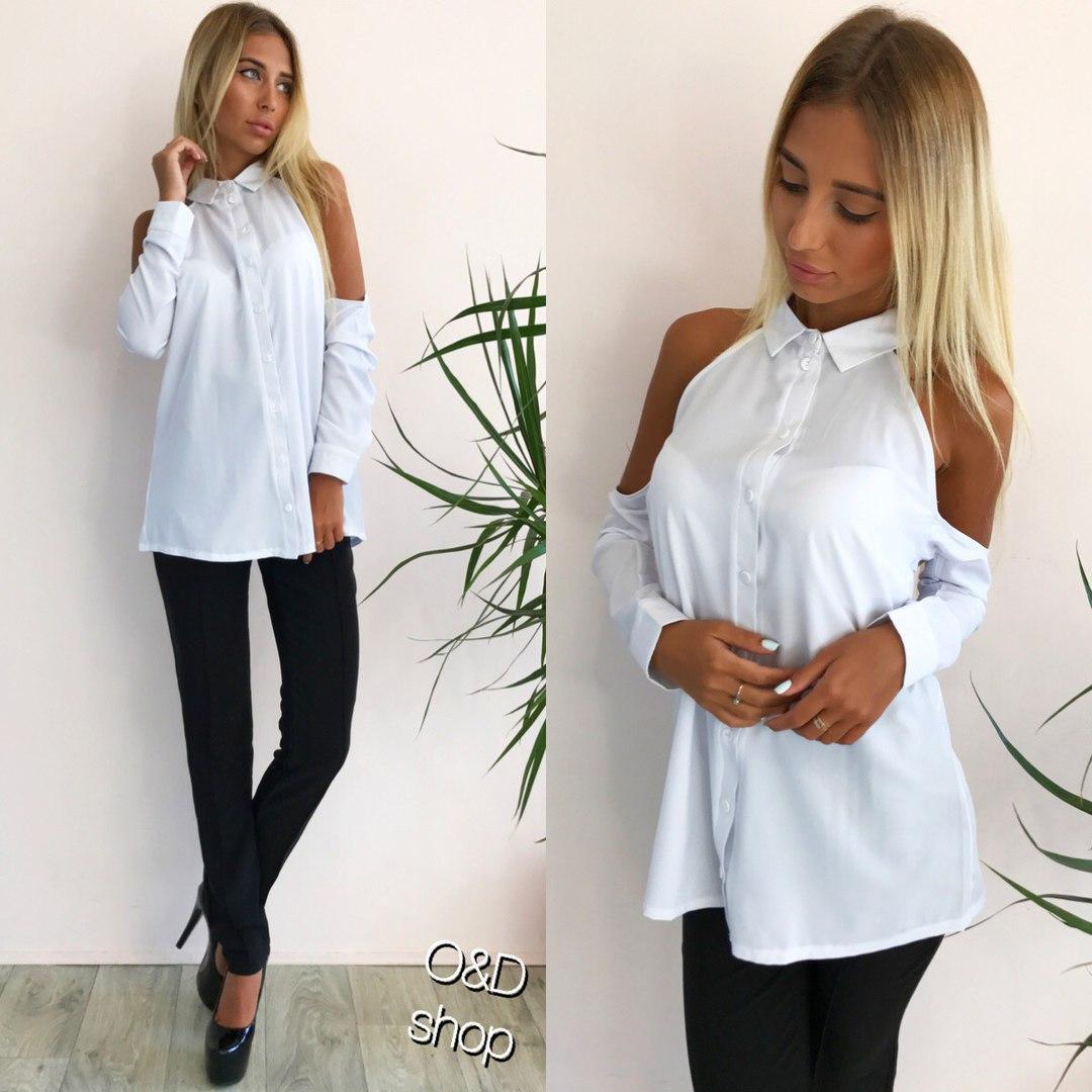 bf1c204c857 Купить Белую рубашку с открытыми плечами k-271334 недорого в Украине ...