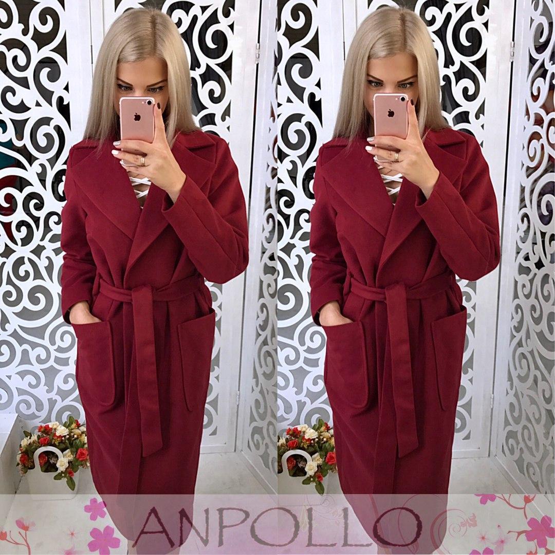 Женское кашемировое пальто ниже колена под пояс 170217