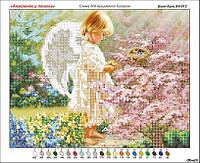 Схема вышивки бисером на габардине Ангелочек и птичка